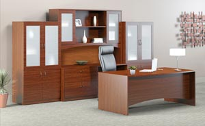 Executive desk, credenza, hutch with double height doors and two storage bookcase frosted panel door cabinets in Cherry