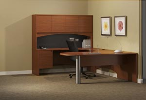 "Peninsula ""U"" shaped desk with single pedestal credenza, bridge and hutch with doors."