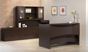 Reception desk with double lateral credenza with overhead hutch with double height frosted panel doors and additional two drawer lateral