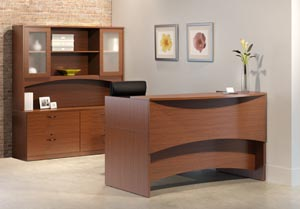 Reception desk with double lateral credenza with overhead hutch with double height frosted panel doors