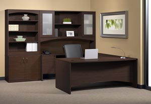 "Executive ""U"" desk with single pedestal credenza, bridge, hutch with double height doors with bookcase storage door cabinet. in Mocha laminate finish"