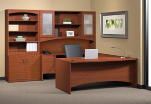 "Executive ""U"" desk with single pedestal credenza, bridge, hutch with double height doors with bookcase storage door cabinet. in Cherry laminate finish"