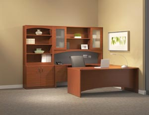 "Executive ""U"" desk with single pedestal credenza, bridge, hutch with double height doors with two door storage bookcase cabinet."