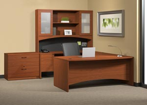"Executive ""U"" desk with single pedestal credenza, bridge, hutch with double height doors with two drawer lateral file."