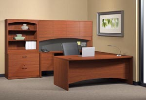 "Executive ""U"" desk with single pedestal credenza, bridge, hutch with doors and lateral file with bookcase hutch."