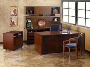 Executive U Desk With Storage Hutch Cabinet And Lateral File