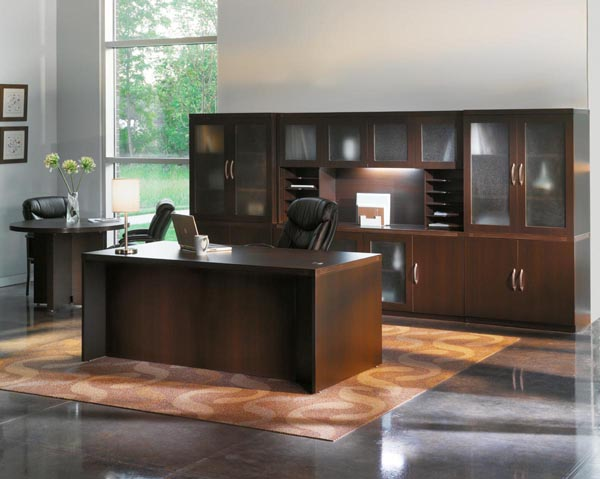 Aberdeen series executive desk with wall unit and round conference table