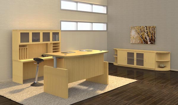 Aberdeen height adjustable desk storage credenza and credenza shell with hutch