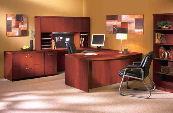 aberdeen cherry bow front u desk office suite cherry office furniture