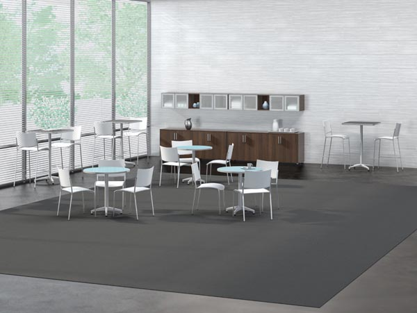 cohere table with white escalate seating