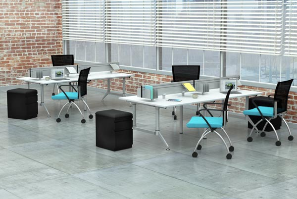 Even Tables 4 person work group with Valore Seating