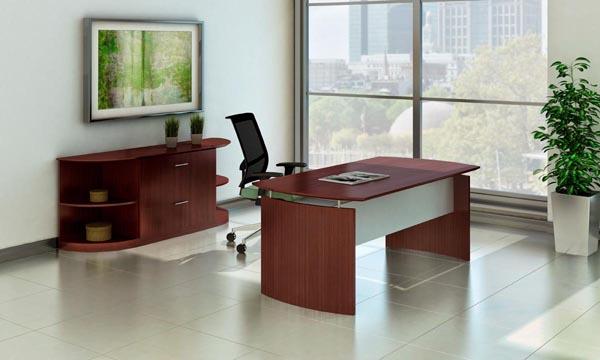 Medina series desk, lateral file and corner bookcases