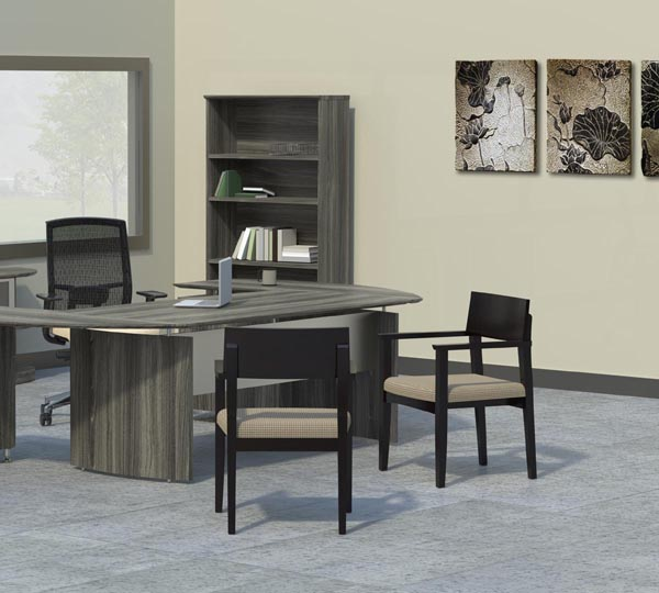 """Medina """"L"""" desk suite with gist and mercado seating"""