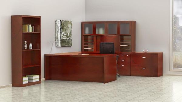 """Mira executive """"U"""" desk, hutch, lateral file and bookcase"""