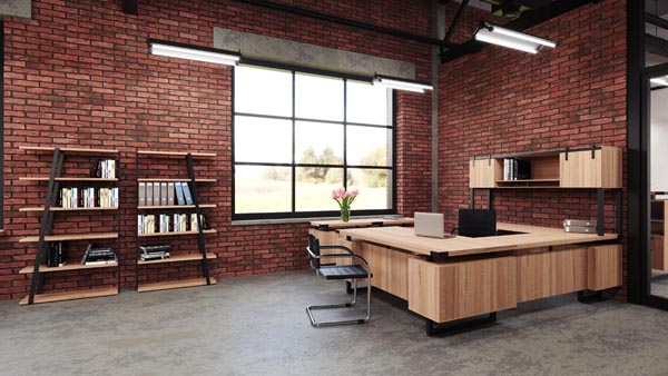"Mirella executive ""U"" desk, credenza and bookshelves"