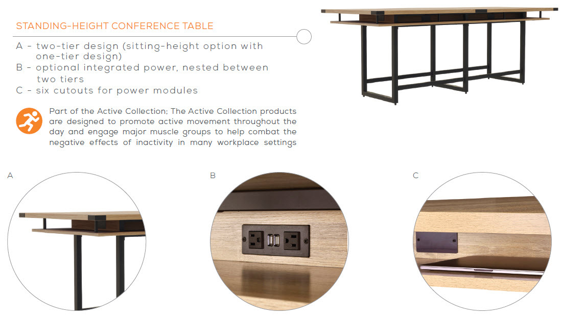 mirella standing height conference table features