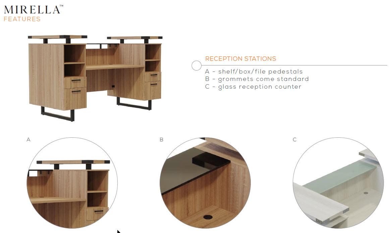 mirella reception desk features