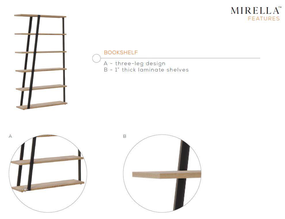 mirella bookcase features
