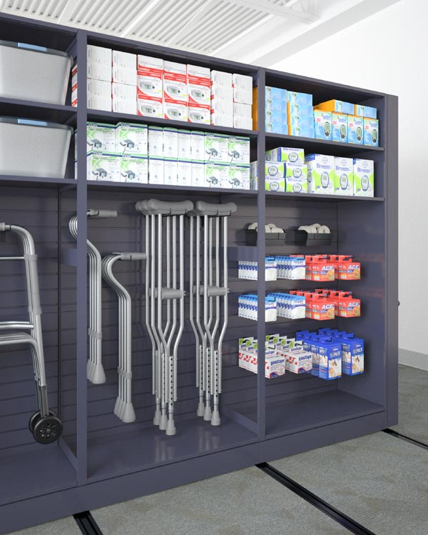mobile aisle with slatwall used for medical supplies