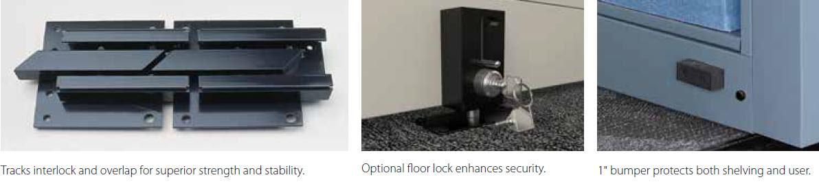 mobile 1000 track interlocking, floor lock and bumper features