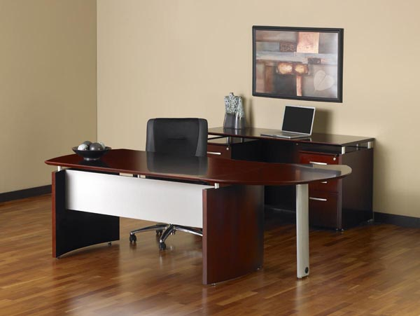 Napoli executive desk with curved extension with kneehole credenza