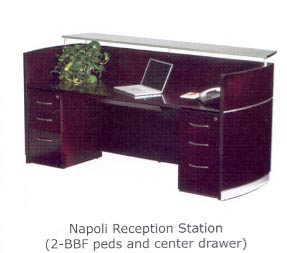 napoli reception desk with pedestals and shelf