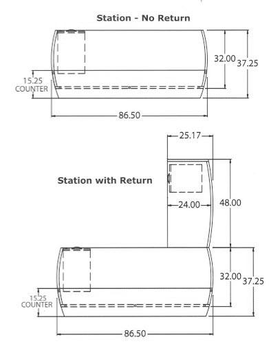 receptionn desk size