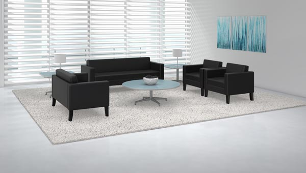 Prestige lounge seating with Cohere tables
