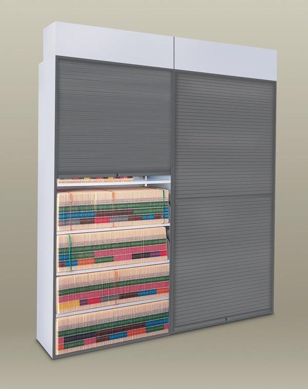 Security shade feature locking tambor door for four post files