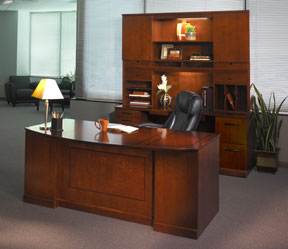Executive Bow Front Desk, Credenza, Hutch With Double Height Doors,  Horizontal And Vertical Organizers With Bookcase Sliding Door Cabinet.