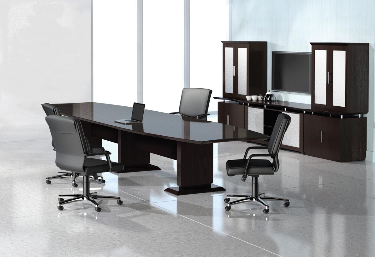 sterling series conference table with buffet and storage cabinets