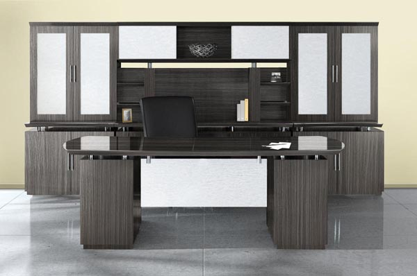 Sterling series executive desk and wall unit consisting of credenza, storage cabinets, overhead storage and filing