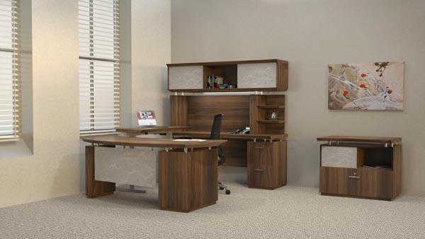"Sterling series executive ""U"" desk with height adjustable bridge"