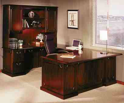 """U"" desk in mahogany"