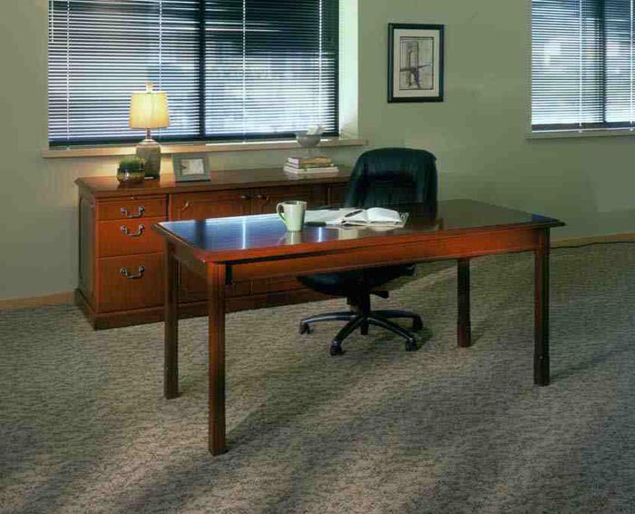toscana writing table with credenza in cherry