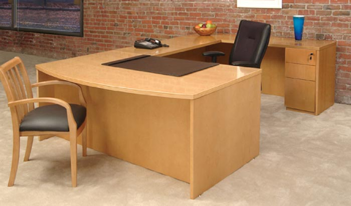 executive bow front U workstation