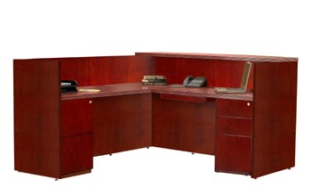 cherry reception desk pedestal view
