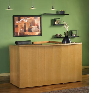 maple reception desk front view