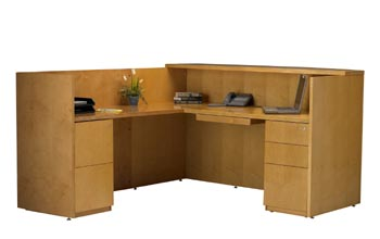 maple reception desk pedestal view