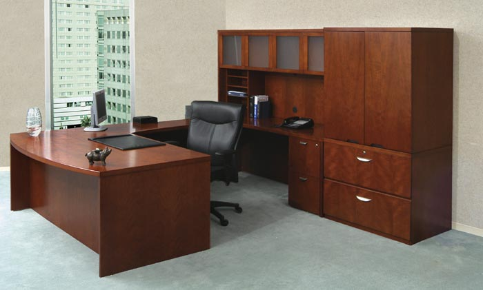 mira bow front executive U workstation with hutch and storage cabinet with lateral file