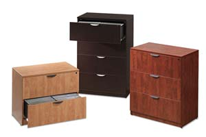 Lateral files are available in 2, 3 and 4 drawer models in matching laminate finishes.