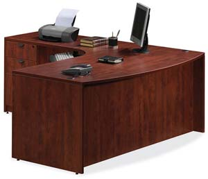 "Bow front executive ""L"" desk with two box/box/file pedestals."
