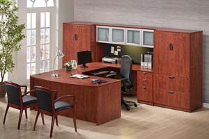 "Bow front executive ""U"" desk with storage hutch with aluminum and frosted panel doorsand lateral file storage cabinets."