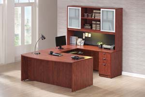 "Bow front ""U"" desk with open center hutch with aluminum frosted panel doors on ends."
