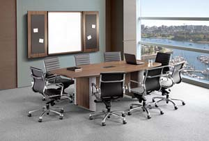 "10"" Boat shaped conference table with optional metal edge base and wall hanging presentation cabinet"