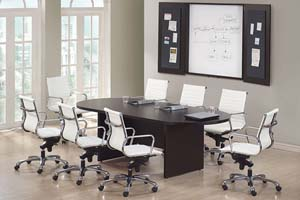 8' Racetrack conference table with conference wall cabinet.