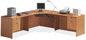 Corner computer desk with returns on either side with box/file pedestals.