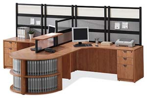 Double corner workstation with Boarders panels across back and dividing the two workareas