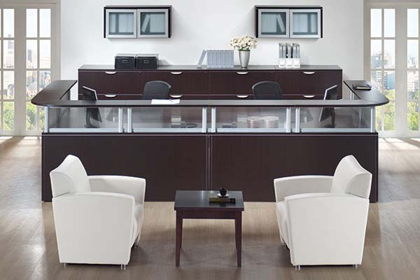 "Double reception ""U"" workstation with Boarders panels and transaction tops with four wide lateral file credenza."