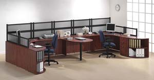 Double workstation with shared bullet table in middle with Boarders panels across back and on ends.
